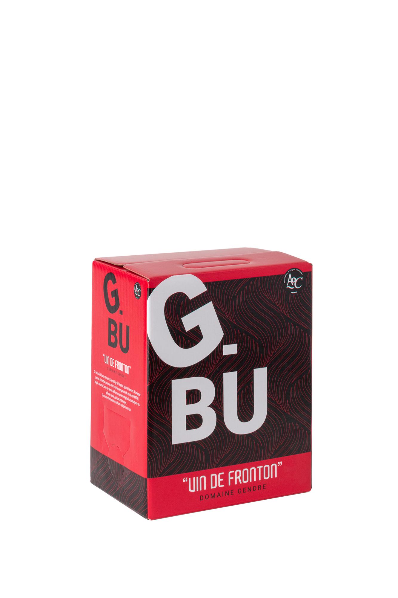 Packshot du cubis de vin rouge G-Bu