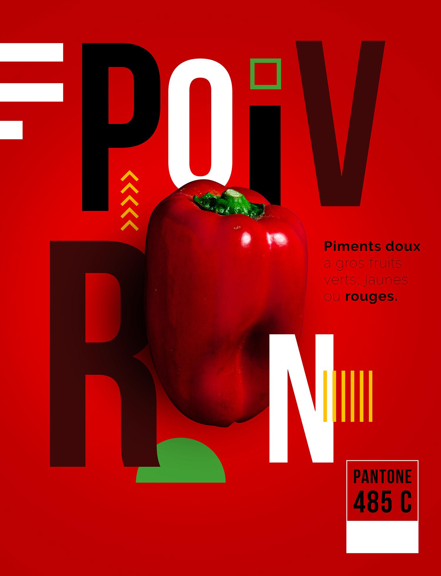 Le poivron rouge intégré dans son affiche
