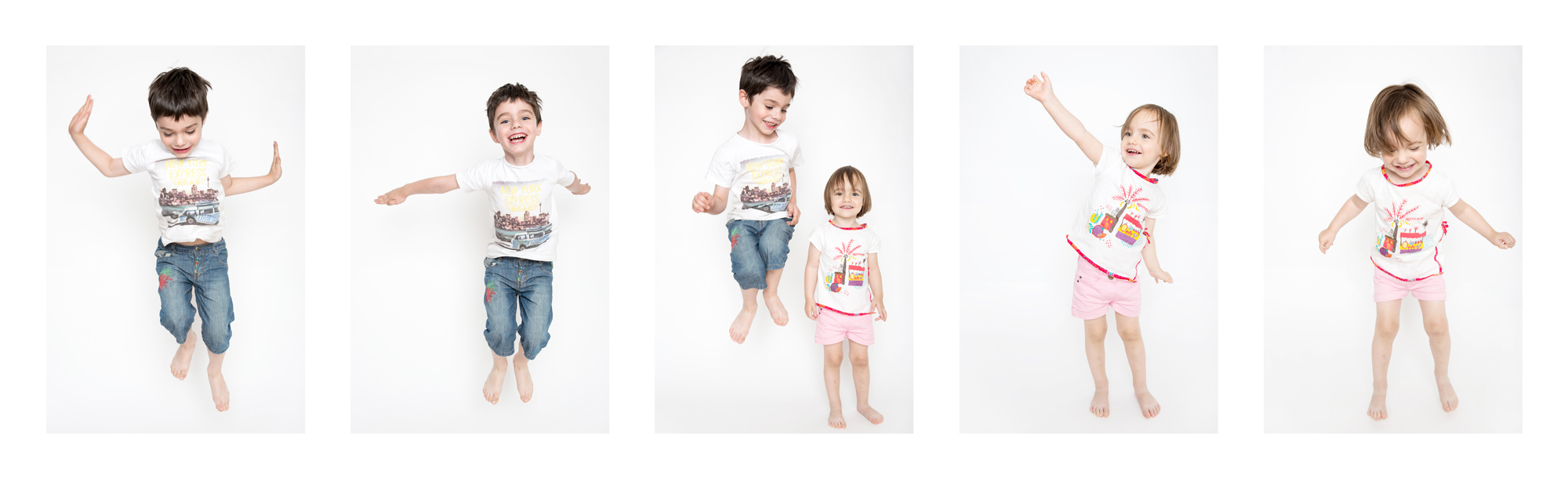 Montage photo d'une séance en studio photo d'enfants sautant