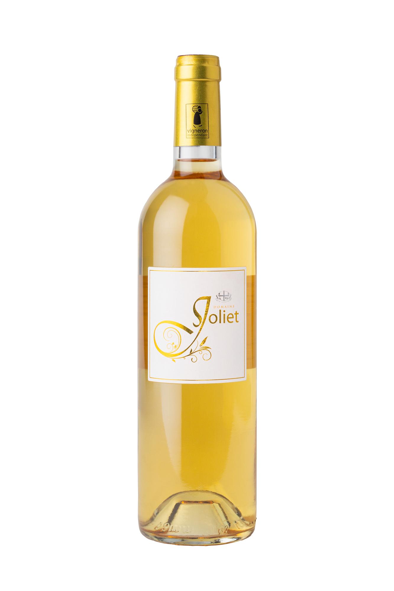 Photographie sur fond blanc de la bouteille de vin blanc