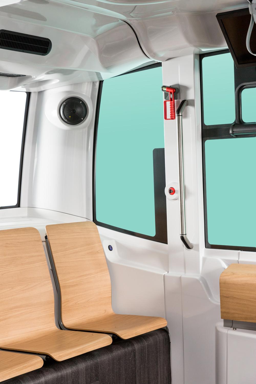 Intérieur du véhicule d'Easymile, avec transparence des fenêtres pour intégration de l'image