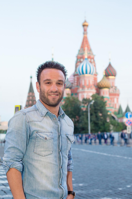 Portrait de Mathieu Valbuena pour l'Equipe sur la place Rouge à Moscou en Russie