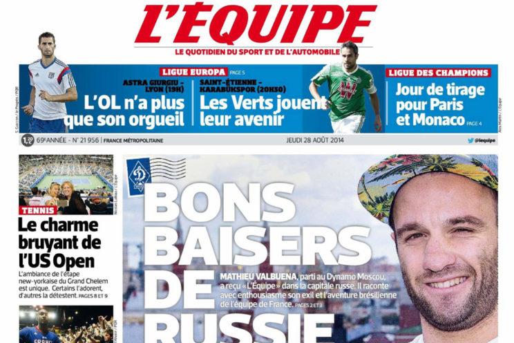 Gros plan Une journal l'Equipe avec Mathieu Valbuena