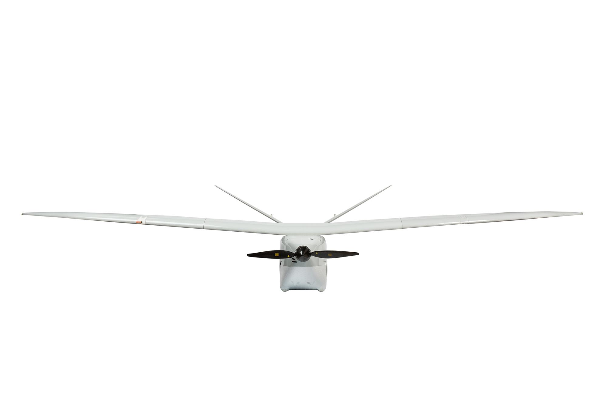 Photographie sur fond blanc du drone Delair vue de face