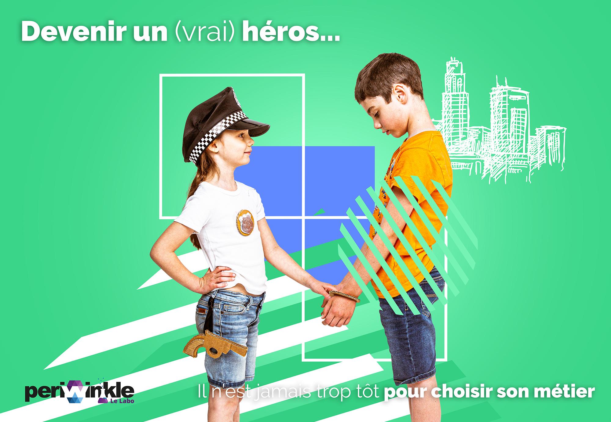 Deux enfants jouent au policier et au voleur avec un montage graphique