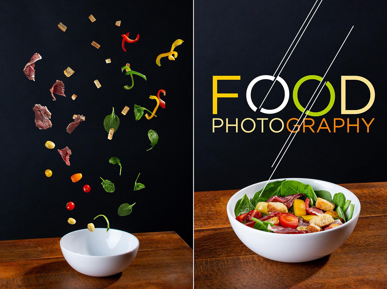 Montage photo d'ingrédients de salade tombant dans un bol blanc. Le montage photo à droite montre la salade composée avec les ingrédients dans le bol.